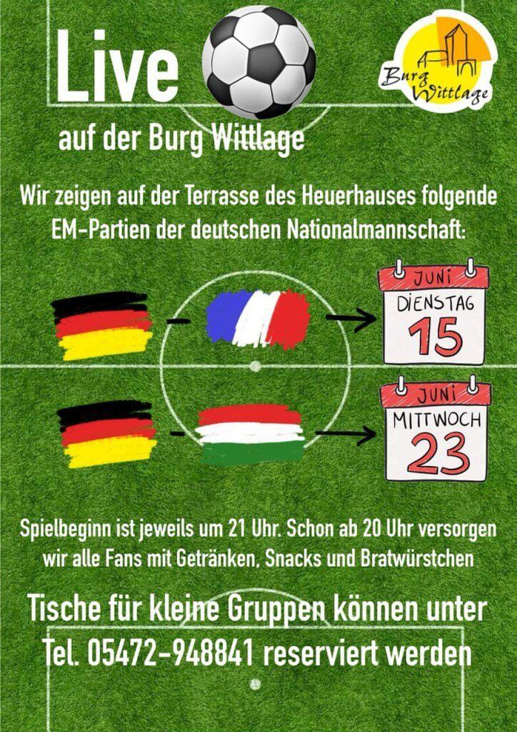 Plakat zur EM live auf der Burg Wittlage