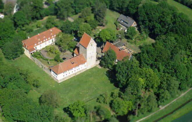 Luftbild der Burg Wittlage